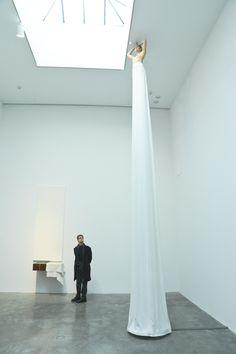 Pier Paolo Calzolari, Donna Colonna,2001, white skirt, iron, egg, ceramic, closed-loop pump ©Pier Paolo Calzolari / Photo Courtesy BFAnyc.com