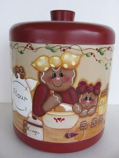 Hand Painted Gingerbread On Large Vintage Metal Canister