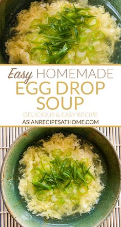 Easy Homemade Egg Drop Soup - Make this easy homemade egg drop soup with just a few simple ingredients. This egg drop soup recipe is so delicious easy to make and delivers on great flavor. Full recipe at AsianRecipesAtHom. Recipes Appetizers And Snacks, Healthy Eating Recipes, Slow Cooker Recipes, Cooking Recipes, Fast Recipes, Homemade Egg Drop Soup, Cilantro Recipes, Light Recipes, Asian Recipes