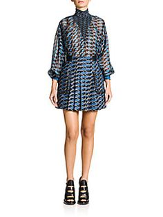Fendi - Printed Smocked Silk Blouse