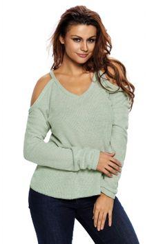 6036d437c71 Light Green Cold Shoulder Knit Long Sleeves Sweater