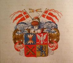 The coat of arms of Peter Jansen Wessel (1690 Trondheim - 1720 Hildesheim, Germany)- better known as Tordenskiold. Maybe the most famous naval hero from Denmark and Norway.
