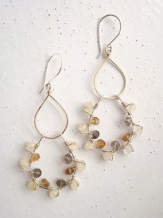 Smoky Quartz, Citrine, & Brandy Citrine Wrapped 14k Gold-filled/ Sterling Silver Teardrop Chandeliers