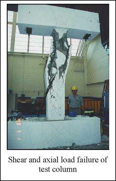Shear and axial load failure for column test