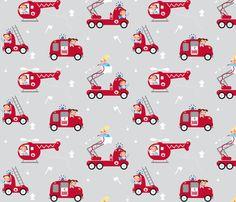 Firemen, on the roll! (trucks) fabric by verycherry on Spoonflower - custom fabric
