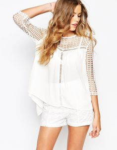 Goldie | Goldie Blouse With Grid Crochet And Tie Open Back at ASOS