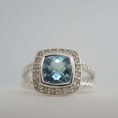 DAVID YURMAN STERLING SILVER .20TCW 7MM BLUE TOPAZ DIAMOND PETITE ALBION RING #DavidYurman #SolitairewithAccents - RETAIL:  $650  BELLA TUTTO:  $495