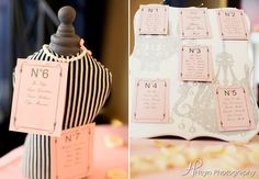 Chanel inspired place cards for bridal shower