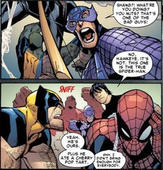 Spider-man just doesn't want to share his pop tarts.