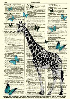 Giraffe Dictionary Art Print Giraffe and by reimaginationprints, $10.00