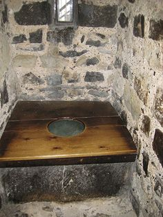 Henry VIII's toilet....I was just in the Tower of London and saw this....I read that when it was in use it emptied into the moat where the royal stash of fish was kept for lent.... One of the many reasons I'm glad to live today!
