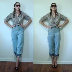 VINTAGE 1940's Rosie the Riveter Side Zip WWII Women's Jeans SMALL by MyGrayCatVintage, $48.00