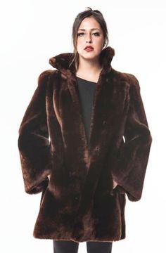 """1960's Vintage """"VELVET"""" Mouton Brown Fur Coat"""