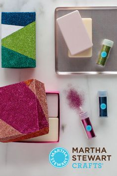 Add a little shimmer to any project with Martha Stewart Crafts glitters!
