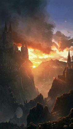 The young girl looked over the castle and watched the sun rise