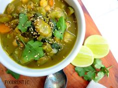 vegetarian curry soup with coconut milk