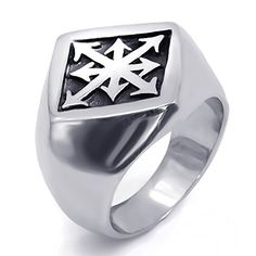 """Elfasio Mens Boys Stainless Steel Ring Gothic Magic 8 Pointed Chaos Star Cross jewelry Size 12. Measurement: Approx 0.9""""(length) x 0.94""""(width) x 0.83""""(high). Material: Stainless-Steel.100% Brand New. Package: Come With Elfasio Logo Fashion gift Bag. Ring Size: 8,9,10,11,12. Perfect Gift for Fathers' Day, Boyfriend birthday gift, Graduation, Bachelor Party, Anniversary. Elfasio Jewelry : Super Cool Design, Made of high quality Stainless Steel, hypo-allergenic and will not oxidize or…"""