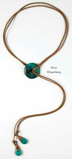Diy Jewelry Southwestern Lariat Necklace - tutorial by Rena Klingenberg - Free jewelry tutorials, plus a friendly community sharing creative ideas for making and selling jewelry. Lariat Necklace, Leather Necklace, Leather Jewelry, Wire Jewelry, Boho Jewelry, Jewelry Crafts, Beaded Jewelry, Jewelry Necklaces, Diy Accessories