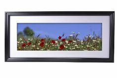 24 x 8 Panoramic Frame with White Mat, Wall-Mounted, Pine Wood (Black)