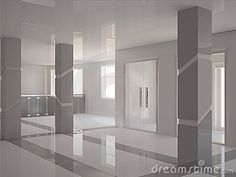 contemporary house pillar | Stock Image: Hall with modern columns