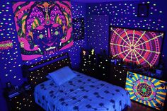 Magic room; shelter from a psychedelic mind under black light #blacklight #blacklightart #psychedelicart #psychonaut #psychedelic #acrylic #painting #art #mystic #shrooms #universe #sacredgeometry #meditation #visionary #thirdeye #motherearth #magic #colorful #eyes #energy #mandala #love #high #lsd #dmt #nature #fractal #thc #artist #mexico by juliotelloart