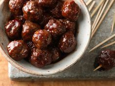 Hot and spicy cocktail meatballs. The delicious sweet-and-spicy sauce for these classic meatballs couldn't be easier! Get premade meatballs or make your own - recipe included. Best Holiday Appetizers, Best Appetizer Recipes, Appetizers For Party, Holiday Recipes, Halloween Appetizers, Party Recipes, Yummy Appetizers, Brunch Recipes, Dinner Recipes