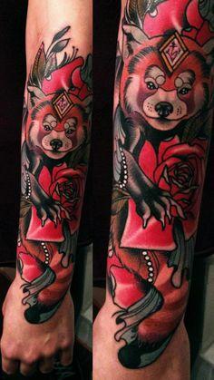 http://tattooideas247.com/red-panda-tattoo-2/ Red Panda Tattoo #Animal, #BrandoChiesa, #Forearm, #RedPanda, #Sleeve