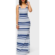 Rotita Open Back Stripe Print Double Slit Maxi Dress ($30) ❤ liked on Polyvore featuring dresses, navy blue, white maxi dress, navy maxi dress, navy dresses, double slit maxi dress and sheath dresses