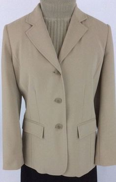 Eddie Bauer Womens Sz 2 Petite Tan Blazer Lined Pockets Button Front NWT K21 #EddiBauer #Blazer