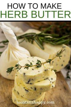 How to Make Herb Butter * Compound Butter * Flavored Butter Homemade Garlic Butter, Garlic Herb Butter, Flavored Butter, Spiced Butter Recipe, Basil Butter Recipe, Kitchen Recipes, Cooking Recipes, Compound Butter, Steak Butter