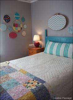 I love the grey walls with all the pops of color and textile patterns!