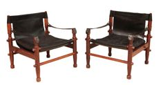 LIVING RM | PAIR OF LEATHER CHAIRS | VINTAGE SCANDINAVIAN | 2500 EA
