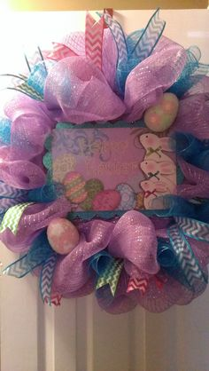 Fun and Festive Easter Wreath in Lavendar Deco Mesh by MisSuenos, $50.00