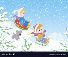 Small children sledding down a snow hill vector image on VectorStock A Cartoon, Cartoon Styles, Kids Slide, Winter Park, Art Education, Adobe Illustrator, Vector Free, Snow, Disney Princess