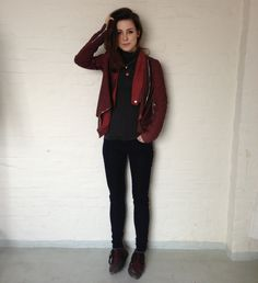 Muubaa AW '12 Alexis Cardigan in Cherry Red, do not like the shoes but rest is soo comfy