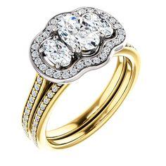 0.75 Ct Oval Diamond Engagement Ring 14k Yellow/white Gold – Goldia.com