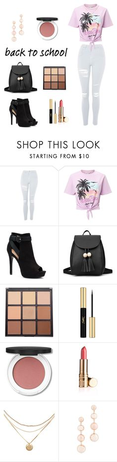 """Back to school outfit # 1"" by fashion-life4me ❤ liked on Polyvore featuring Topshop, Miss Selfridge, Apt. 9, Morphe, Yves Saint Laurent and Rebecca Minkoff"