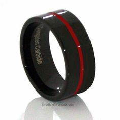 Thin Red Line Tungsten Ring 9mm Flat Profile