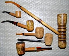 Vintage Corn Cob Pipes, All Labeled Missouri Meerschaum Co., Washington, MO.
