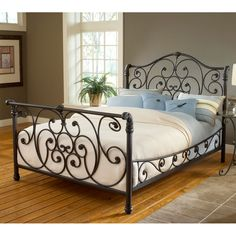 furniture wrought iron sleigh bed headboard siderails frame