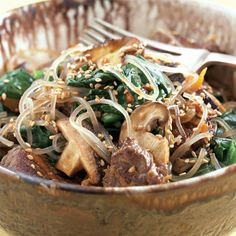 Everyday and twice on Sunday. That is how often I would eat japchae.          Sweet Potato Noodles (Japchae) Photo  at Epicurious.com