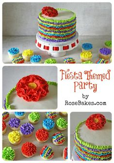Fiesta Party Ruffles Cake and Ruffles Cupcakes Mexican Fiesta Party, Fiesta Theme Party, Festa Party, Party Themes, Party Ideas, Theme Parties, Taco Party, Mexican Birthday, 40th Birthday