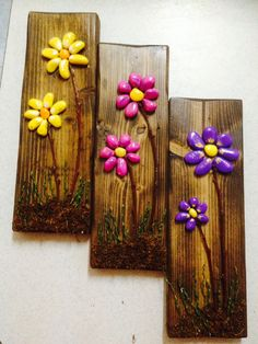 cute flowers arrangement with painted stones