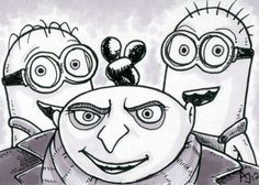 """Set of 4 sketch cards featuring characters from the animated film """"Despicable Me"""". Drawn on bristol cards, with Micron pens and Warm Gray Prismacolor markers. All cards come in heavy vinyl protective sleeves. Minion Sketch, Minion Drawing, Drawing Sketches, Art Drawings, Sketching, Dreamworks Movies, Despicable Me, Warm Grey, Prismacolor"""