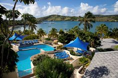 Beautiful tiered pool and view of Mamora Bay