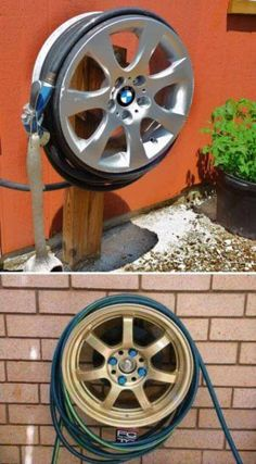 BMW Hub Cap upcycle - Hose Reel Upcycle Car Parts - Reuse Recycle Repurpose DIY using parts from Cars, Motorcycles, Trucks, and more. We carry all kinds of car parts at !