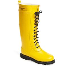 """Ilse Jacobsen Hornbæk Rubber Boot , 1"""" heel (578.995 COP) ❤ liked on Polyvore featuring shoes, boots, cyber yellow, knee-high boots, wide calf rain boots, yellow rain boots, lace up boots, knee high waterproof boots and wide calf boots"""
