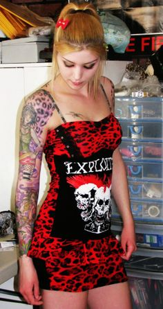inexpensive girly punk rock dresses | The Exploited Mini Dress Red Leopard Fabric Punk Rock and... - Dress ...