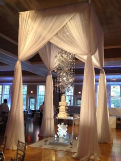 "MMD Events custom draping, chandelier, and cake stand. ""Winter Wonderland theme"""