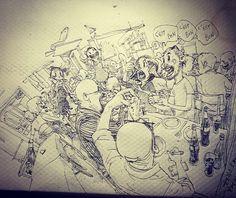 Kim Jung Gi napkin sketch #kimjunggi #illustration #sketch #drawing #livedemo